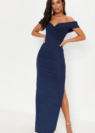 Платье в пол синее prettylittlething, uk 14/ eu 42.