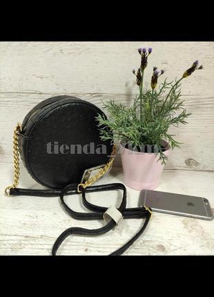 Круглая сумка через плечо / клатч под страусиную кожу h3227 черный