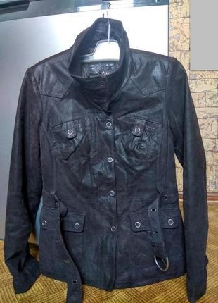 Куртка кожанка кожа tcm tchibo - urban nature - 42-44рр.