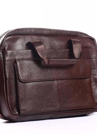Кожаный мужской портфель для ноутбука коричневый