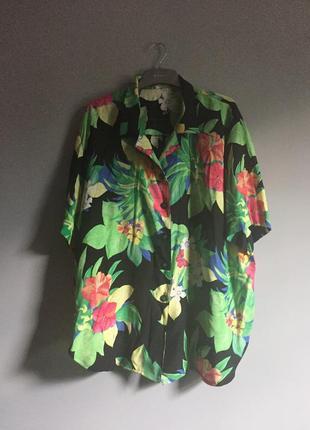 Винтаж , рубашка из вискозы в цветы чёрная ( зелёный , желтый ) гавайка, оверсайз