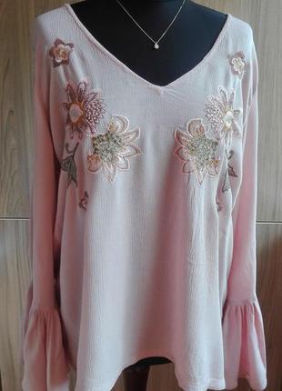 Sale блуза с вышивкой, рукав-колокол на шнуровке #распродажа_meshokable