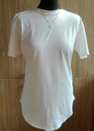 Удлиненная натуральная белая футболка стильного кроя, в мужском стиле, 100% хлопок