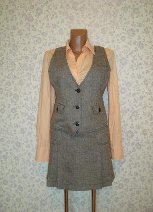 Костюм из твида с добавлением шерсти, юбка р.10, жилетка р.12