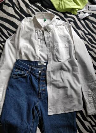 Белая классическая рубашка с воротником