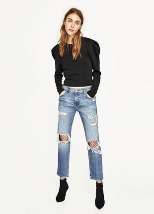 Рваные джинсы zara boyfriend