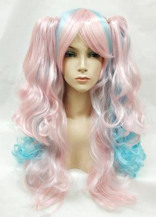Парик разноцветный розовый с голубым лолита волнистый с хвостами 3814