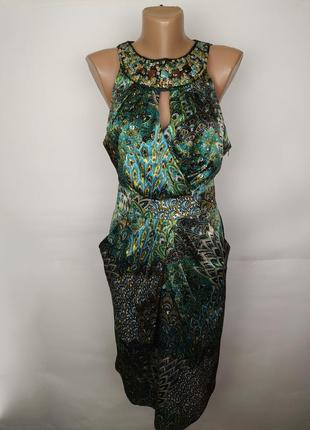 Платье атласное красивое с камнями uk 14/42/l