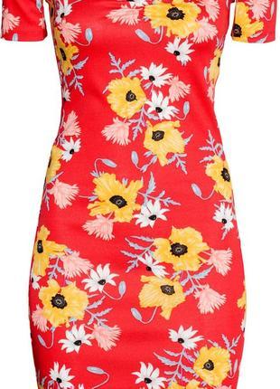 Платье мини с открытыми плечами в цветочний принт/сукня з відкритими плечами/плаття в маки