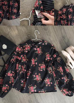 Блуза в квіти з цікавим рукавом