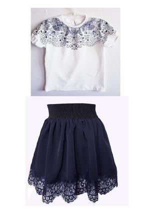 """🌼 комплект, школьная блузка и юбка """"ажур""""1 фото"""