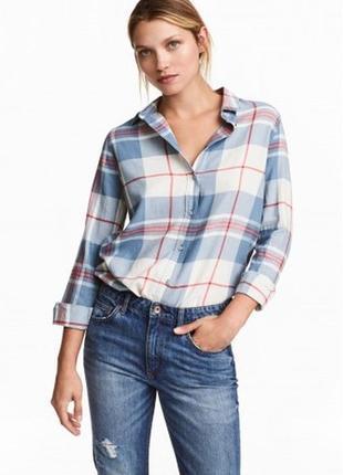 Оригинальная хлопковая рубашка в клетку от бренда h&m разм. 40