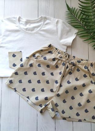 Женская хлопковая пижама в мишки
