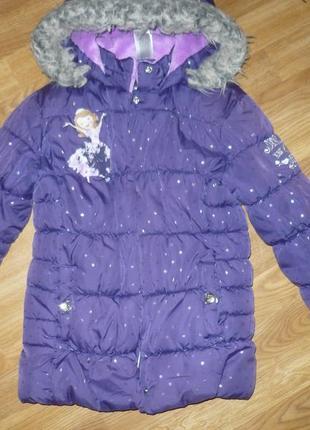 Куртка зимняя на девочку 134р.disney фиолетовая