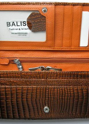 Большой кожаный лаковый кошелек gold, 100% натуральная кожа, есть доставка бесплатно3 фото