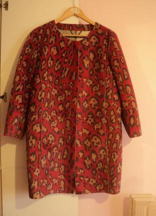Стильное эксклюзивное брендовое пальто кардиган премиум класса с леопардовым принтом