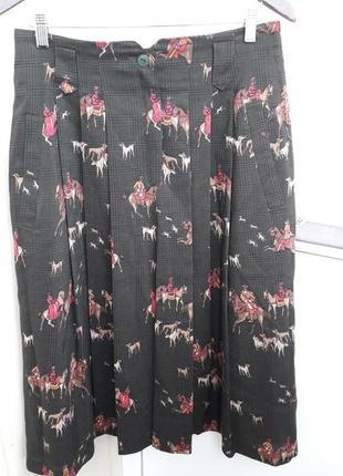 Винтажная юбка из тонкой шерсти с принтом плиссе cachil,австрия.