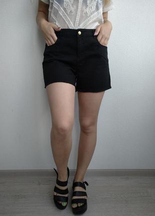 Отпуск джинсовые шорты бойфренды с высокой посадкой черные стрейчевые рваная бахрома