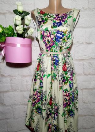 Платье миди коттоновое пышная юбка р 22 london