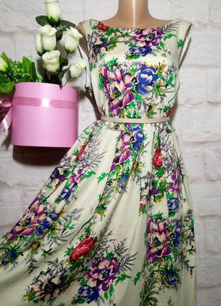 Платье миди коттоновое пышная юбка р 22 london3 фото