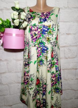 Платье миди коттоновое пышная юбка р 22 london8 фото