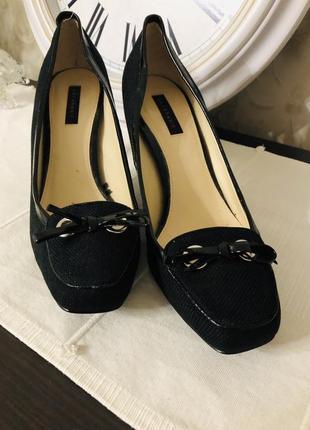 Классические текстильные туфли на среднем каблуке zara!