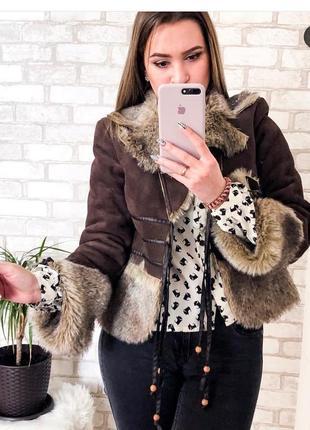 Дубленка курточка накидка пиджак полушубок