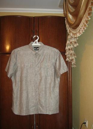 Рубашка marks&spencer, лен, размер xl