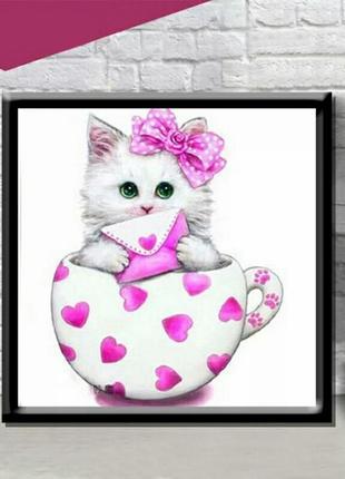 Набор для алмазной живописи, алмазная вышивка с котиком 20*20 см розовая