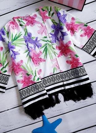 Пляжное детское кимоно. пляжная туника с бахромой. накидка на купальник