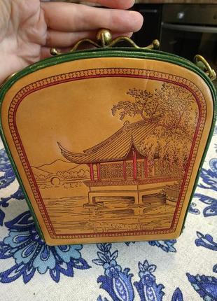Уникальная винтажная сумка из кожи раритет xx век