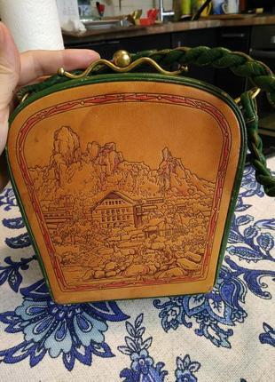 Уникальная винтажная музейная коллекционная сумка из кожи раритет xx век2 фото