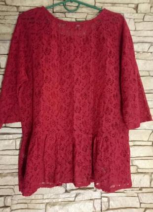 Ажурная блуза большого размера3 фото