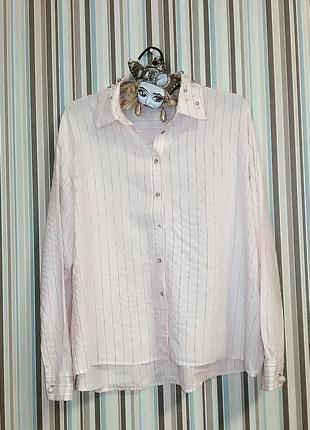 Розовая рубашка zara в полоску m-l
