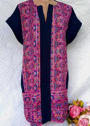 Красивое летнее платье в королевский принт свободного кроя размер 12-14(44-46)