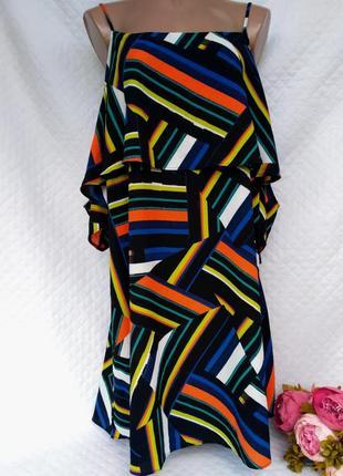 Крутое яркое платье с оголенными плечами размер 18 (48-50)