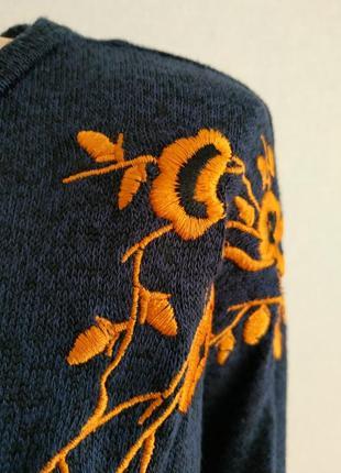 Джемпер тонкий трикотаж с вышивкой большой размер3 фото