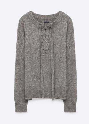 Меланжевый свитер с завязками zara