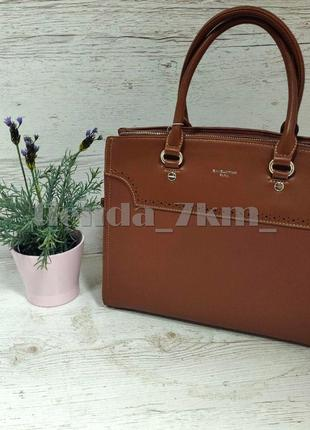Офисная сумка (держит форму) от david jones cm5345 рыжая3 фото