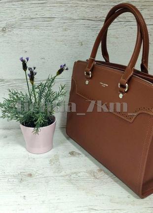 Офисная сумка (держит форму) от david jones cm5345 рыжая4 фото