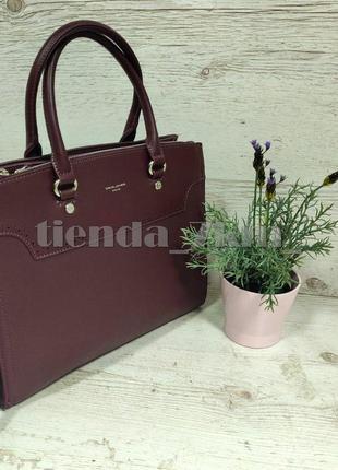 Офисная сумка (держит форму) от david jones cm5345 бордо (марсала)2 фото