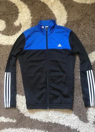 Кофта олімпійка adidas зіп худи чорна синя