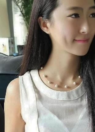 Ожерелье с жемчугом украшение на шею чокер
