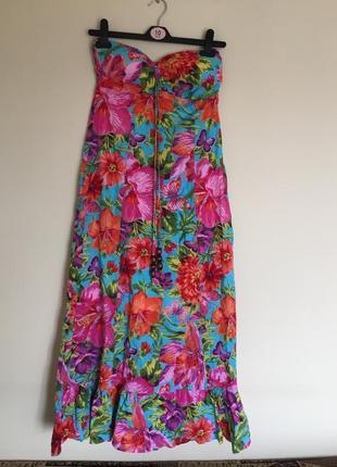 Яркое летнее платье макси сарафан длинное в пол р.l цветочный принт натуральная ткань