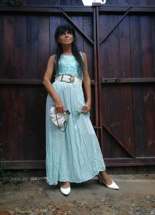 Италия. нежное платье из вискозы длинное стрейч стрейчевое ажурное кружевное