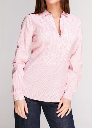 Блуза-рубашка massimo dutti, лен, хлопок