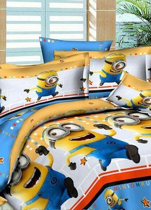 Стильный постельный комплект миньйон, полуторка, новый