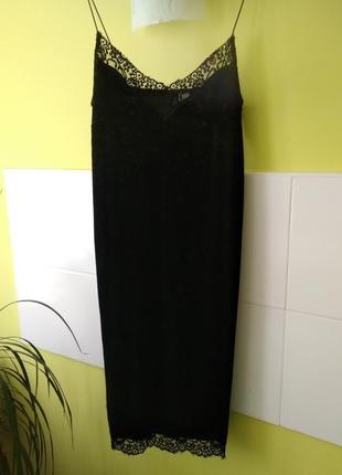 Велюровое платье на тонких бретелях с кружевом h&m