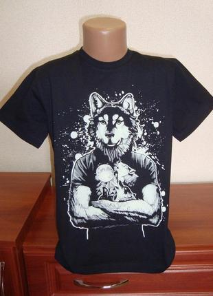Футболка для мальчика волк рисунок светится в темноте