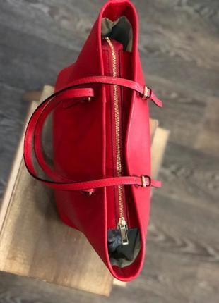 Червона сумка - натуральна шкіра / красная сумка - натуральная кожа3 фото